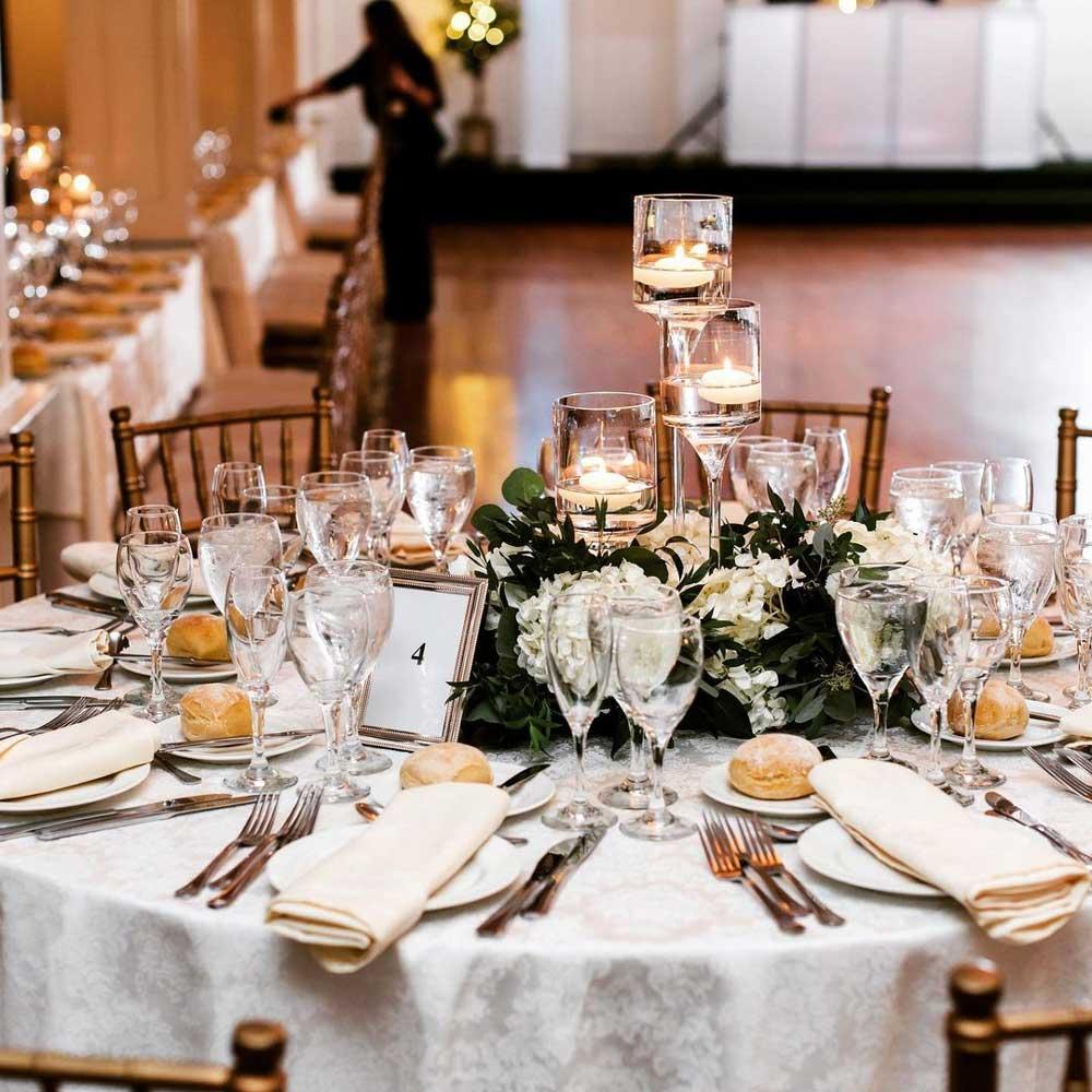 wedding flower arrangement on table